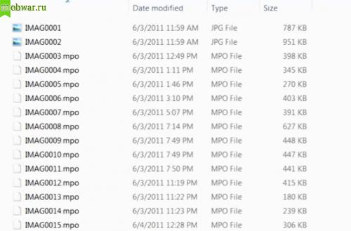 HTC EVO 3D файлы mpo